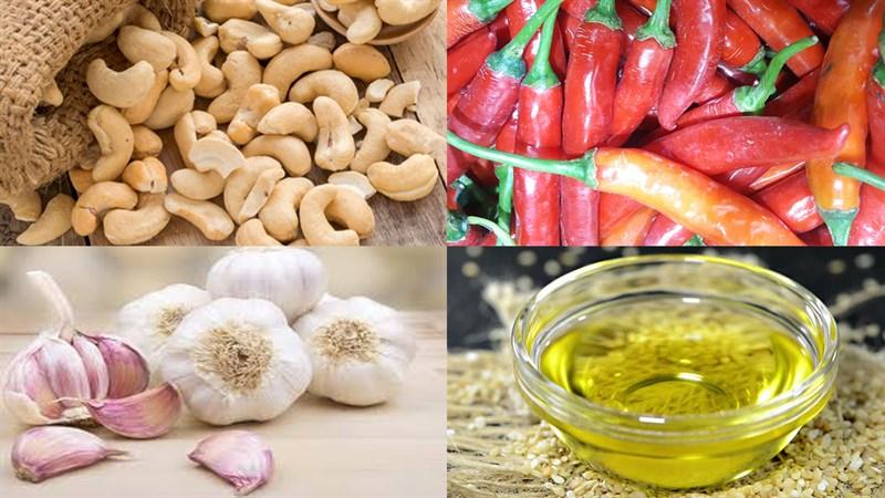 Nguyên liệu món ăn 2 cách làm hạt điều rang muối và rang tỏi ớt