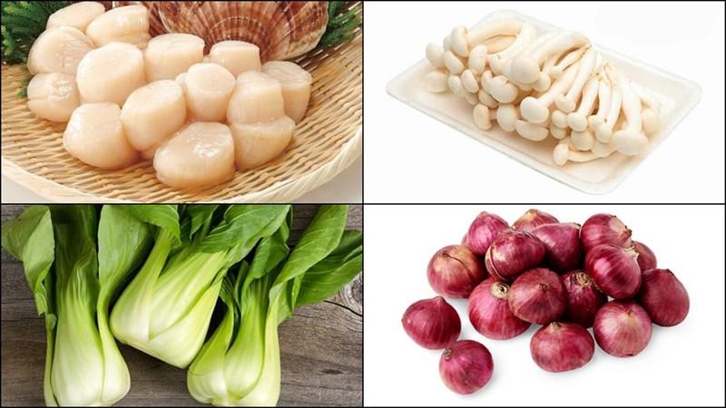 Nguyên liệu món ăn cồi sò điệp xào nấm cải, măng tây và hoa thiên lý