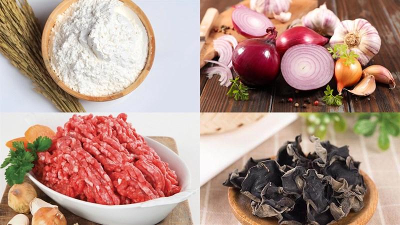 Một số nguyên liệu cần chuẩn bị trong cách làm bánh giò không cần lá chuối