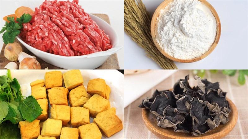Nguyên liệu món ăn bánh đúc nóng mặn từ bột nếp