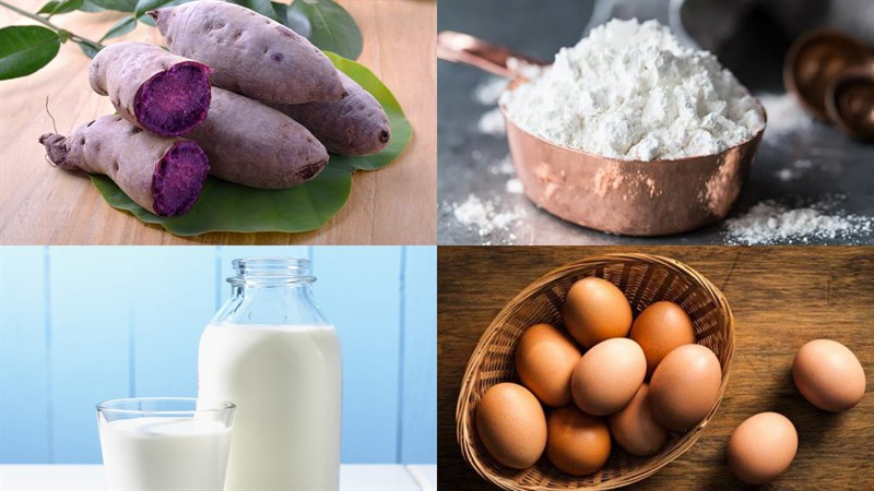 Nguyên liệu món ăn bánh khoai lang tím cuộn