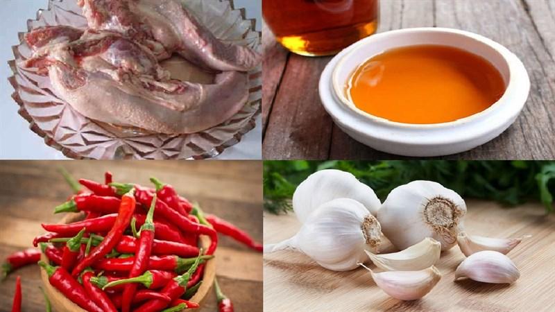 Nguyên liệu món ăn lưỡi heo khìa nước dừa và mắm tỏi