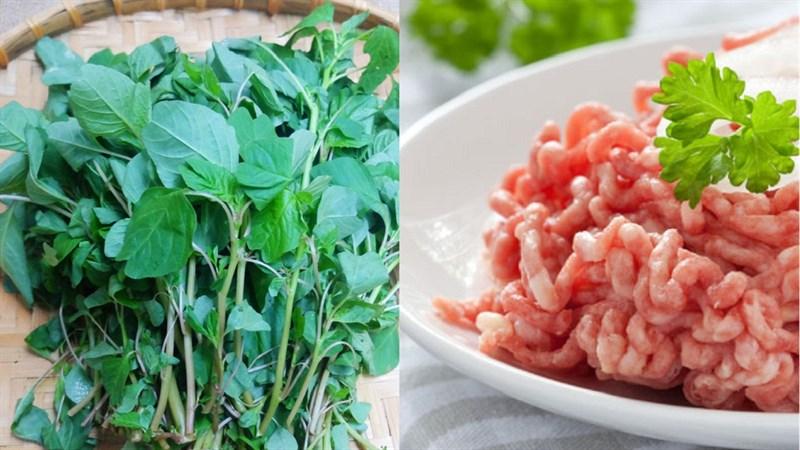 Nguyên liệu món ăn canh rau dền thịt băm và tôm khô