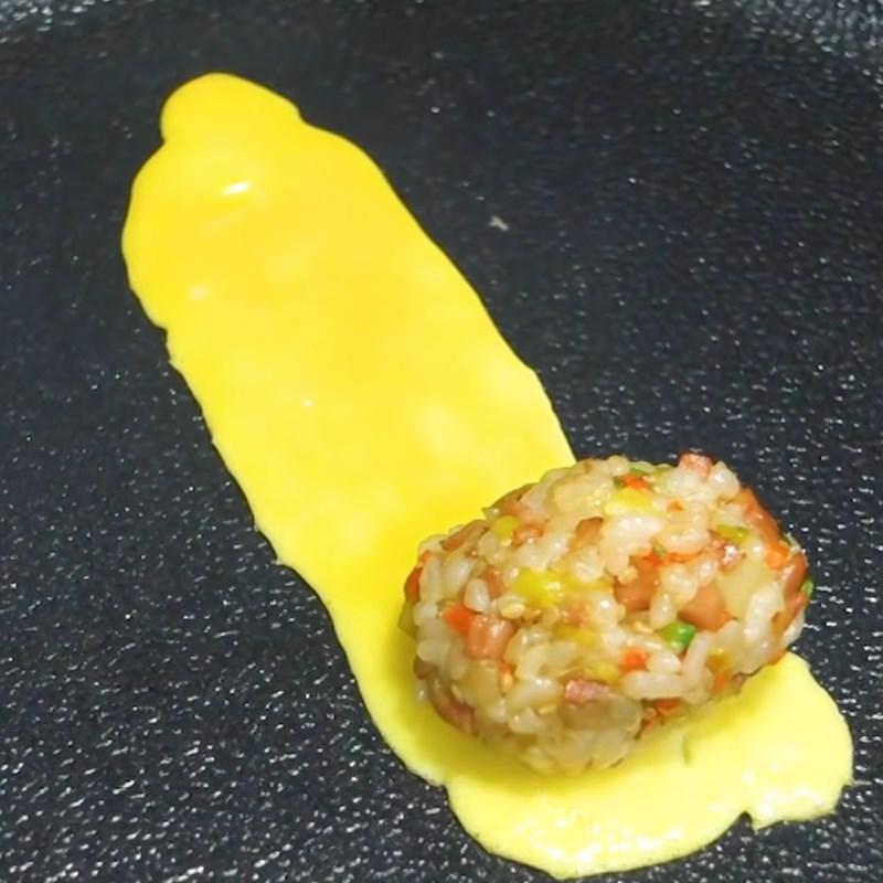 Bước 5 Làm trứng cuộn cơm Trứng cuộn cơm rau củ