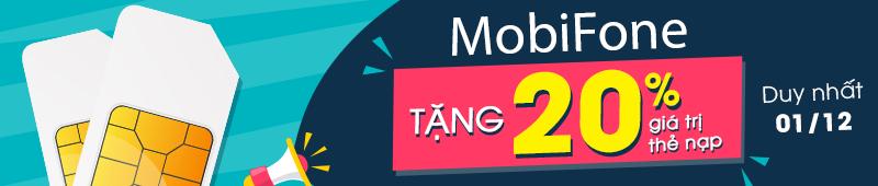 Mobi & VT tặng 20% giá trị thẻ nạp ngày 30/09