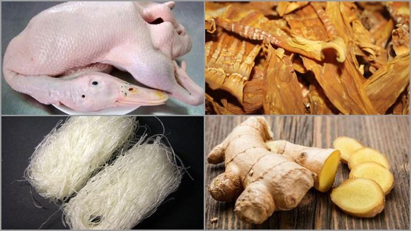 Nguyên liệu món ăn miến ngan trộn và miến ngan nước