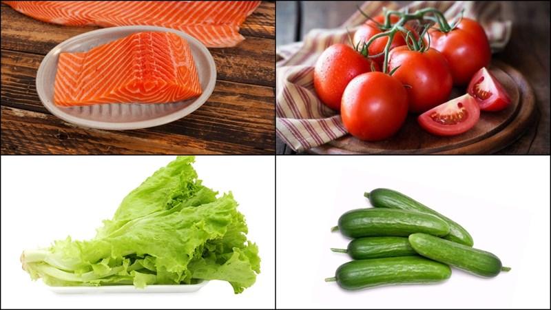 Nguyên liệu món ăn salad cá hồi trộn dầu giấm và salad cá hồi trộn sữa chua