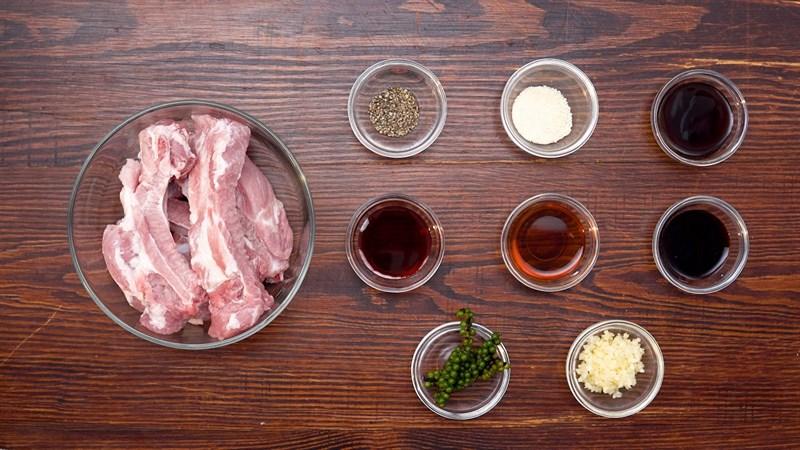 Nguyên liệu món ăn sườn nướng tiêu xanh