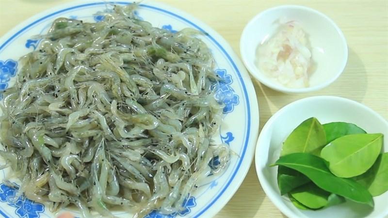 Nguyên liệu món ăn tép rang mặn và tép rang lá chanh