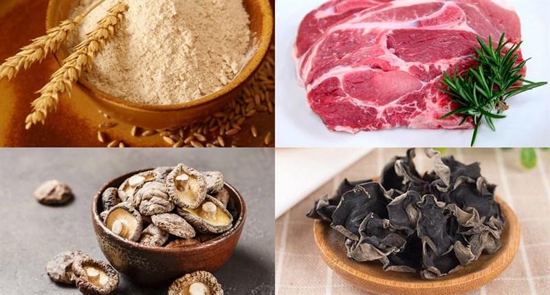 Các nguyên liệu cần có - Thịt nạc, mộc nhĩ, nấm...