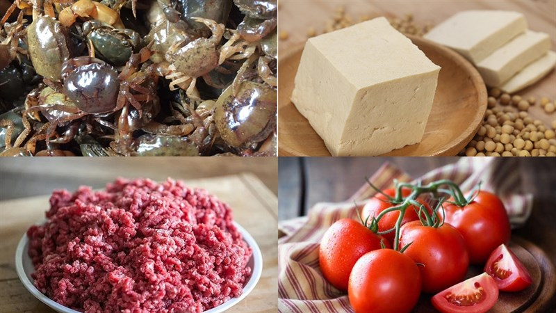 Nguyên liệu món ăn 3 món bún riêu cua đồng