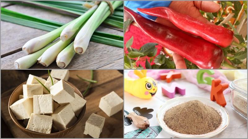 Nguyên liệu món ăn đậu hũ kho sả ớt, cải muối và cải chua