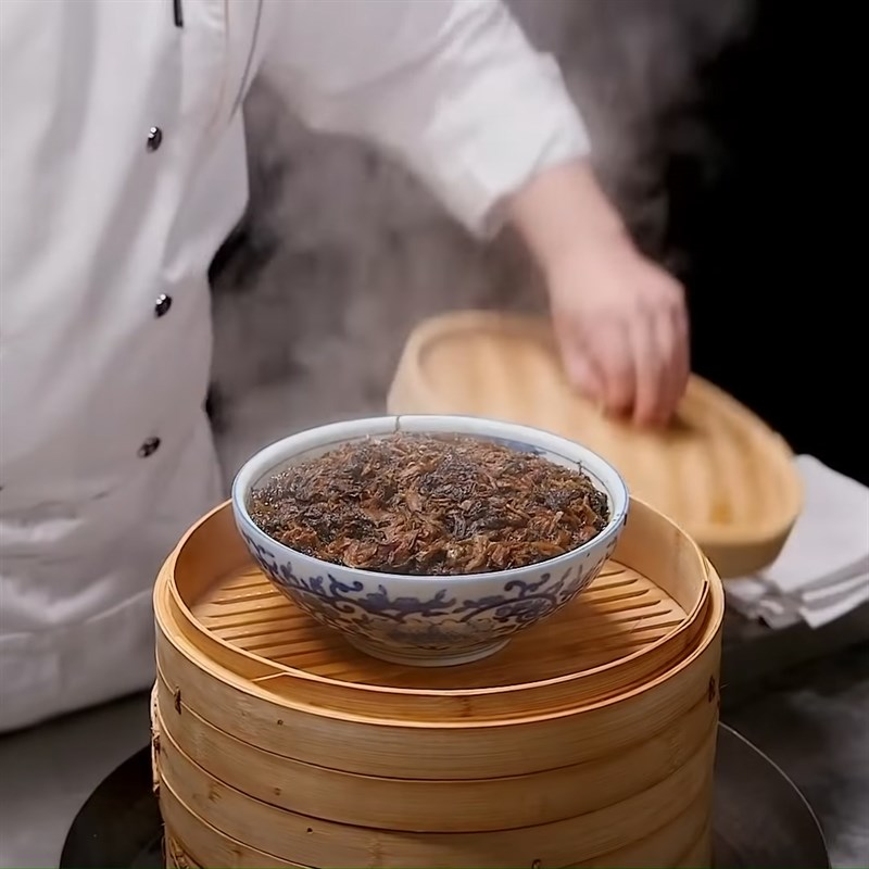 Bước 6 Hấp thịt với cải muối Thịt khâu nhục Quảng Đông