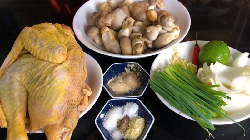 Nguyên liệu món ăn gà hấp nấm