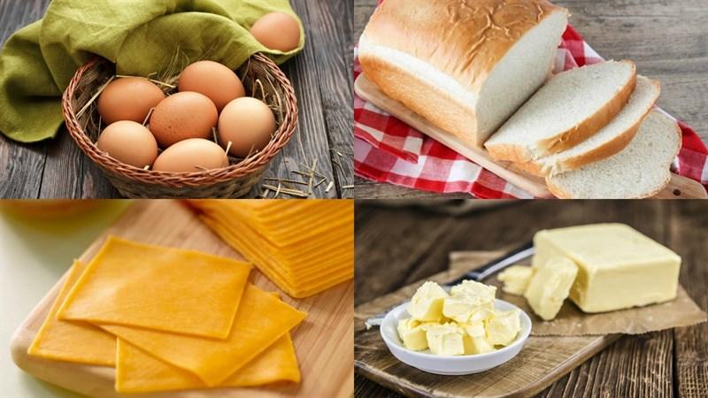 Nguyên liệu món ăn 4 món sandwich trứng - egg sandwich