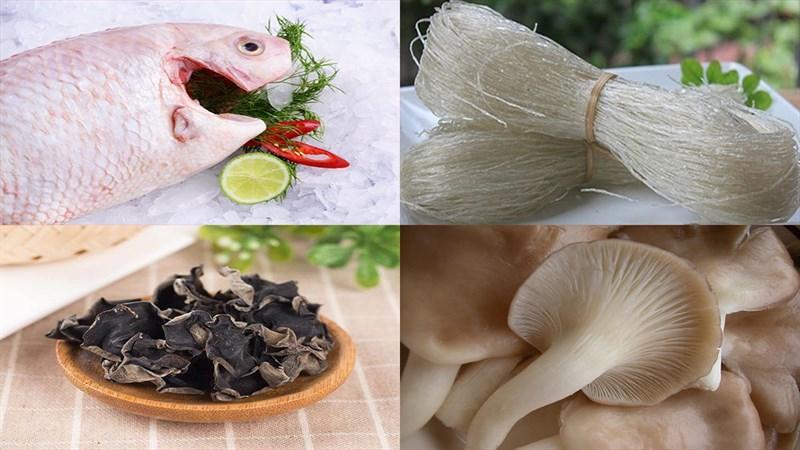 Nguyên liệu món ăn cá diêu hồng hấp miến và hấp hành gừng