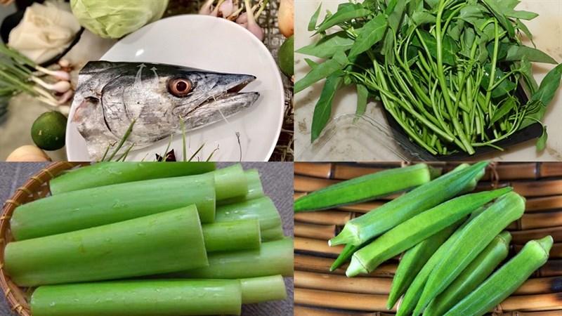 Nguyên liệu món ăn 2 cách nấu canh chua đầu cá thu