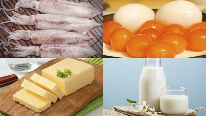 Nguyên liệu món ăn mực chiên giòn sốt bơ trứng muối