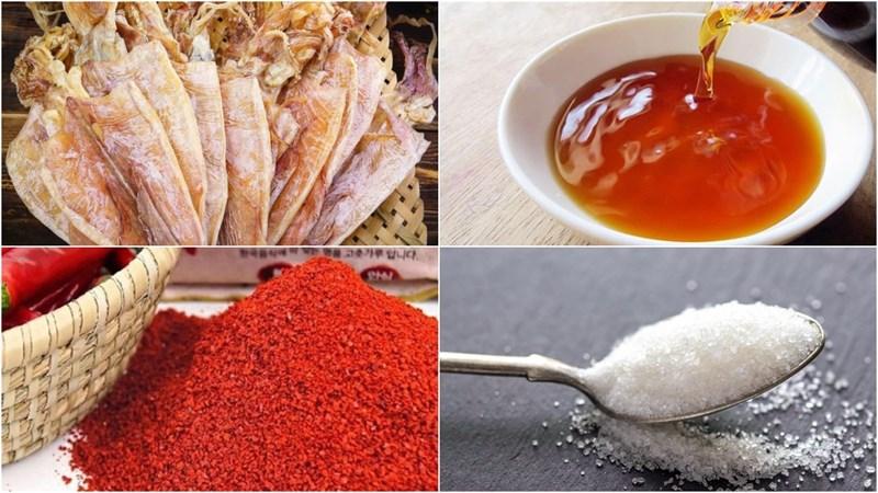 Nguyên liệu món ăn khô mực rim nước mắm