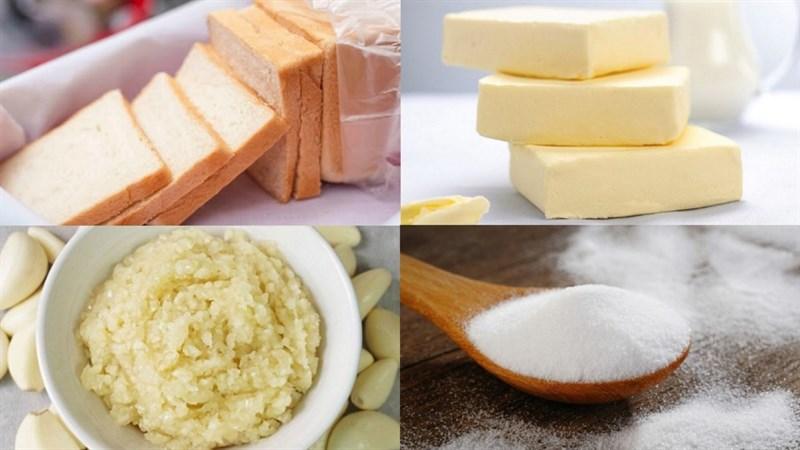 Nguyên liệu món ăn bánh mì bơ tỏi làm bằng chảo