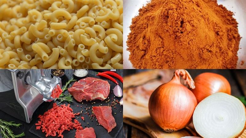 Nguyên liệu món ăn nui xào bò
