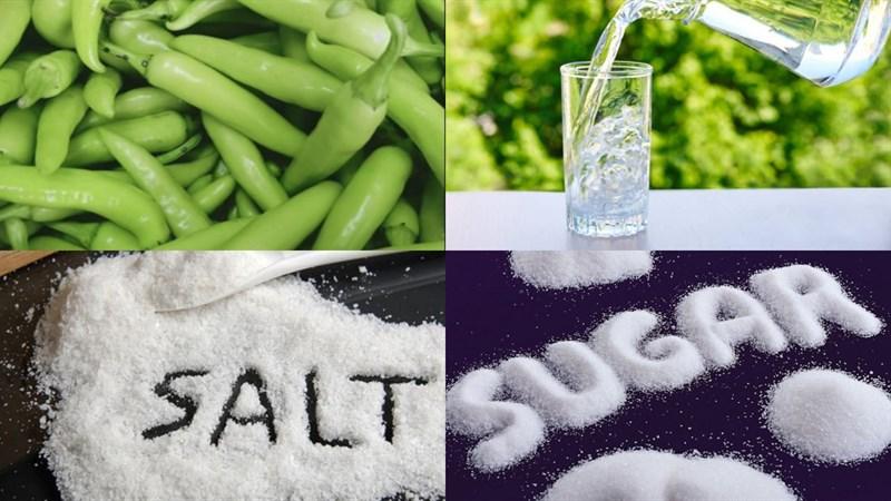 Nguyên liệu món ăn cách làm ớt ngâm muối và nước muối
