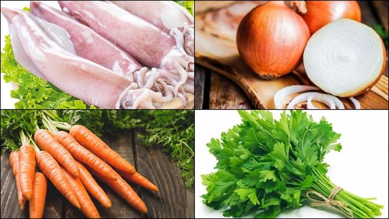 Nguyên liệu món ăn mực xào cần tỏi tây