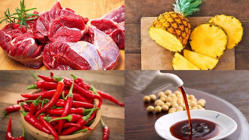Nguyên liệu món ăn bắp bò ngâm nước tương (xì dầu)
