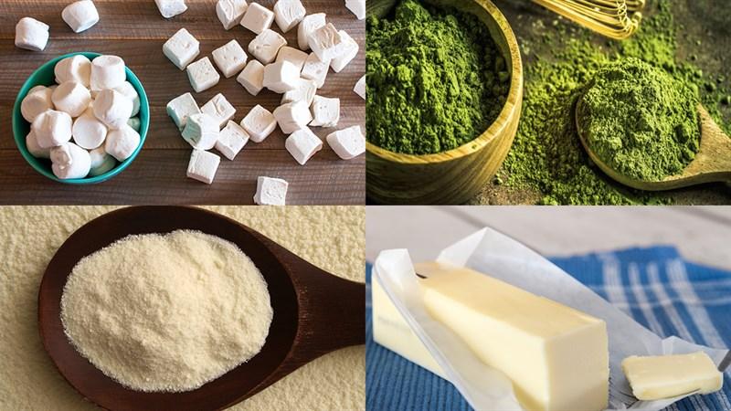 Nguyên liệu món ăn kẹo nougat trà xanh - socola