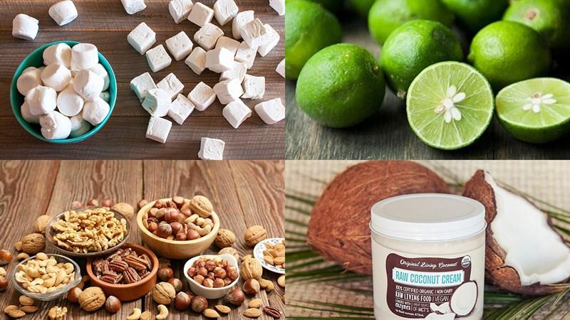 Nguyên liệu món ăn kẹo nougat chanh sữa dừa