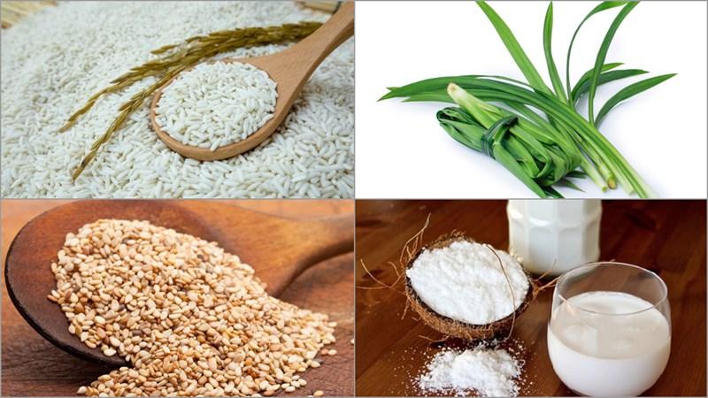 Nguyên liệu món ăn xôi lá dứa bằng nồi hấp, xôi lá dứa bằng nồi cơm điện