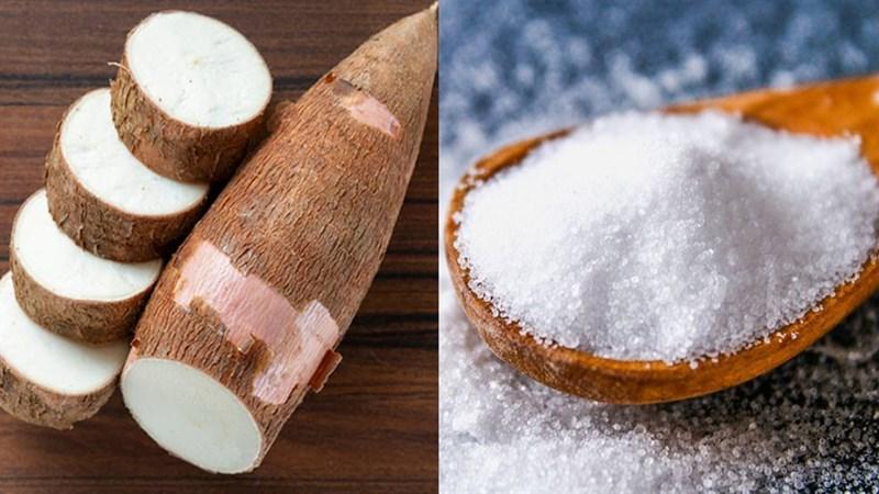 Nguyên liệu món ăn sắn (khoai mì) luộc