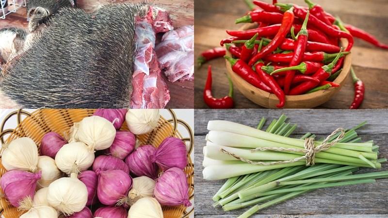Nguyên liệu món ăn heo rừng nướng sa tế và nướng muối ớt