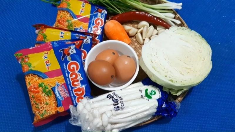 Nguyên liệu món ăn 2 cách làm mì xào trứng