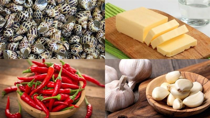 Nguyên liệu món ăn ốc hương xào bơ tỏi