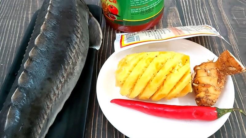 Nguyên liệu món ăn lẩu cá tầm chua cay