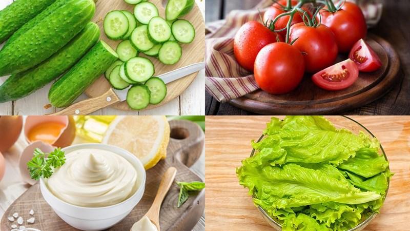 Nguyên liệu món ăn 2 cách làm salad dưa chuột cà chua sốt mayonnaise