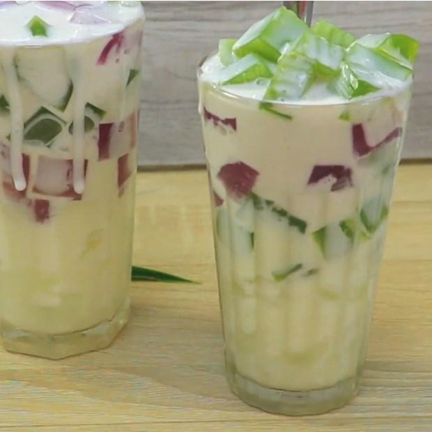 sữa chua thạch lá nếp lá cẩm, sữa chua thạch lá nếp trân châu