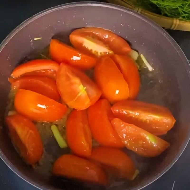 Bước 3 Xào cà chua Canh riêu cua nấu ngót