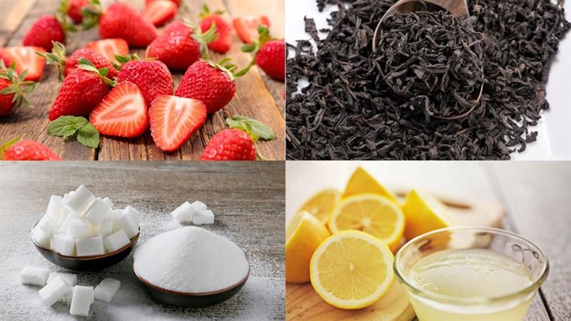 Nguyên liệu món ăn 5 cách pha trà dâu và trà sữa dâu tây