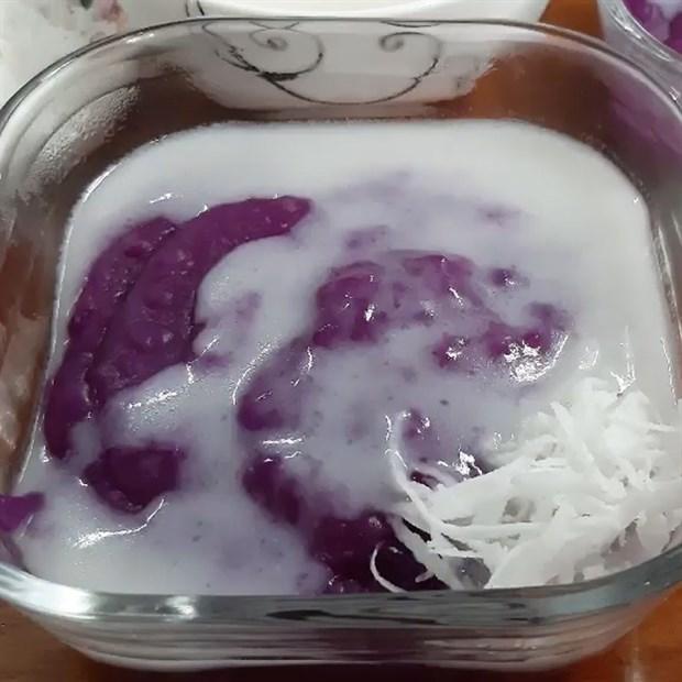 Chè khoai mỡ (khoai tím) dẻo