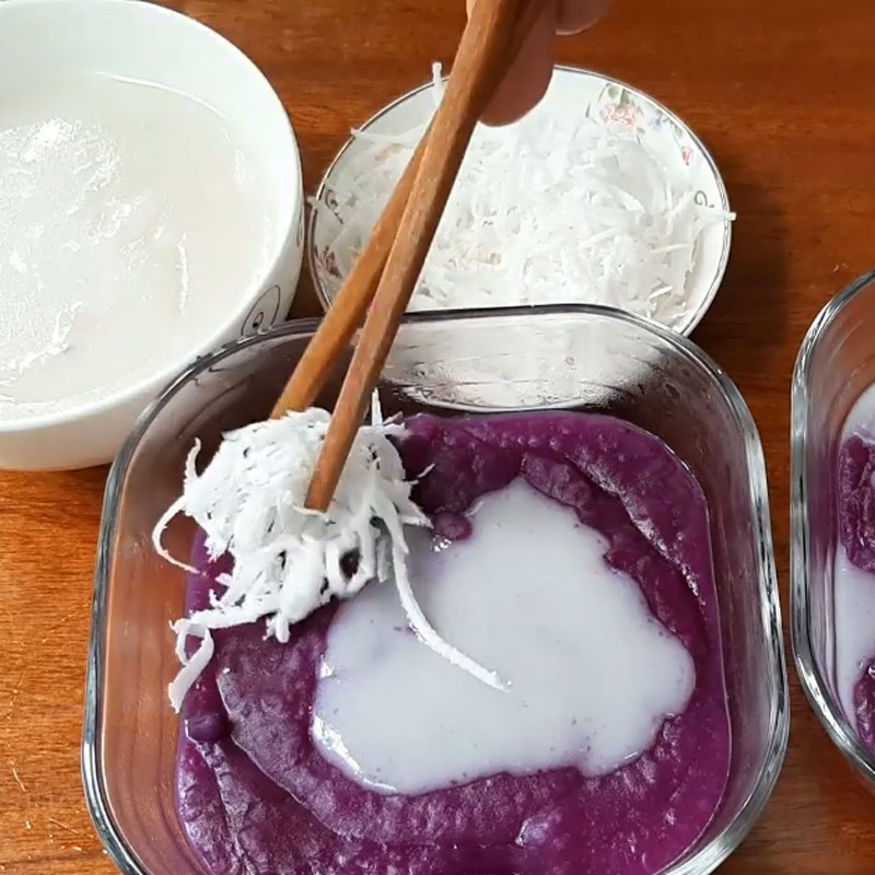 Bước 6 Hoàn thành Chè khoai mỡ (khoai tím) nước cốt dừa