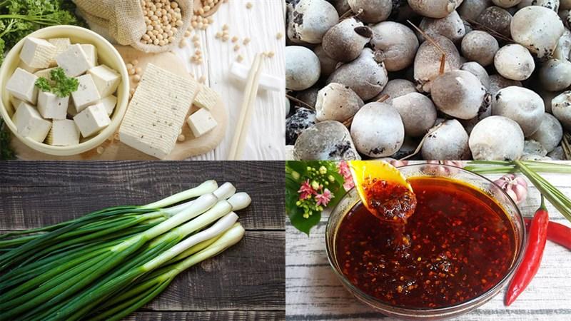 Nguyên liệu món ăn đậu hũ sốt nấm