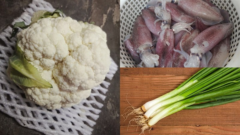 Nguyên liệu món ăn mực xào bông cải