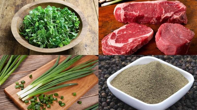 Nguyên liệu món ăn canh xà lách xoong thịt bò
