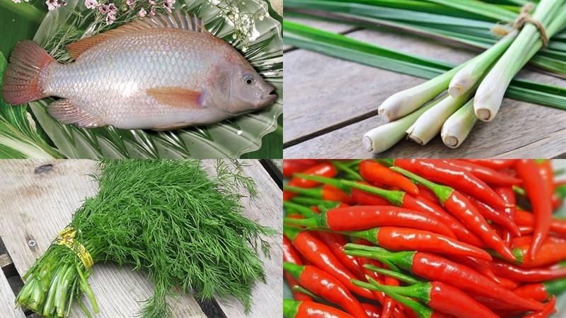 Nguyên liệu món ăn 2 cách làm cá diêu hồng hấp tàu xì và cá diêu hồng hấp sả