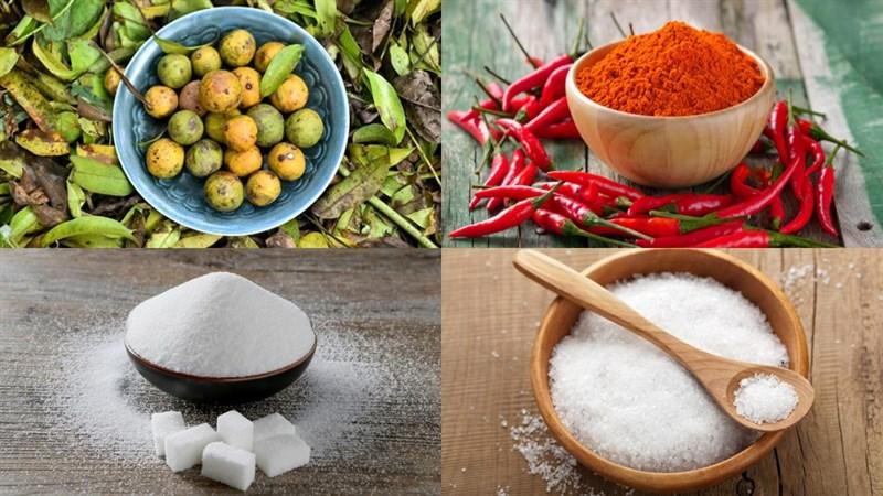 Nguyên liệu món ăn sấu dầm đường, ớt