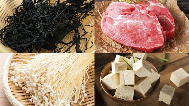 Nguyên liệu món ăn canh rong biển thịt bằm đậu hũ