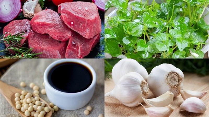 Nguyên liệu món ăn rau càng cua xào thịt bò