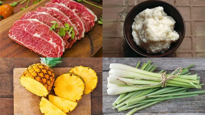 Nguyên liệu món ăn bò nhúng mẻ cuốn bánh tráng